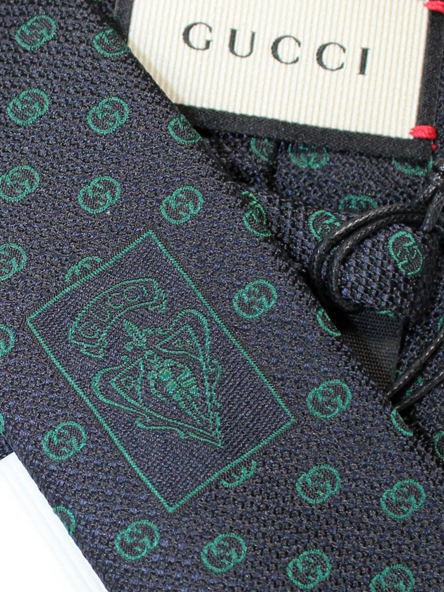 Gucci Silk Tie Navy Green GG Design