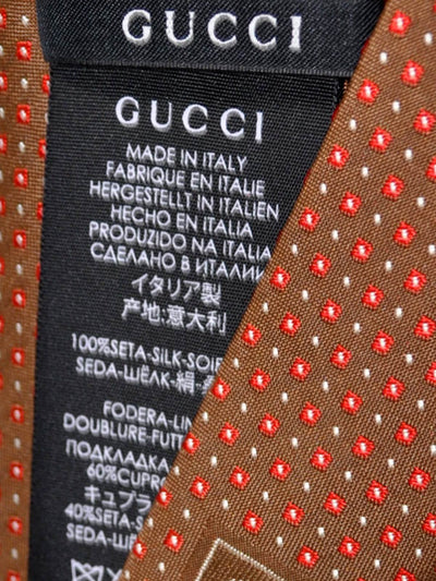 Gucci Silk Tie Brown Red Silver Geometric Squares - FINAL SALE