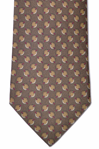 Gucci Tie Taupe Geometric Ovals - FINAL SALE