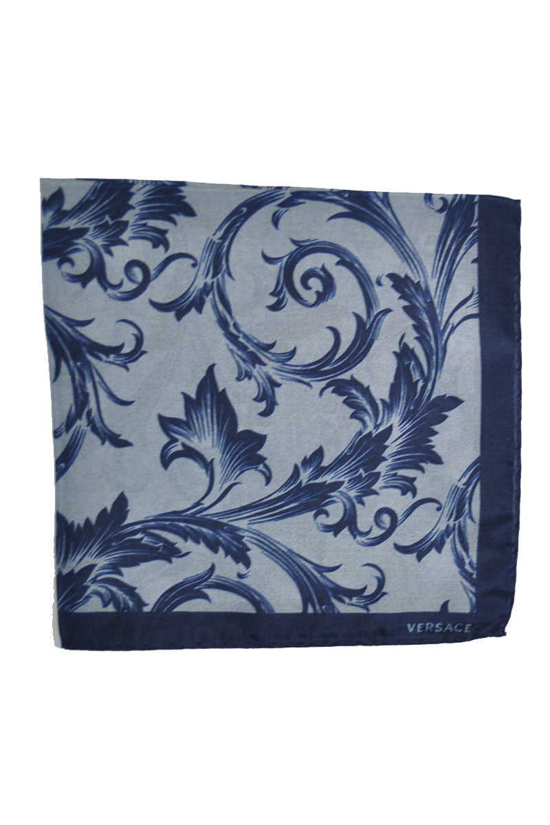 Versace Silk Pocket Square Dark Blue Gray Baroque