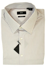Hugo Boss Dress Shirt White Pink Plum Stripes 16 1/2 - 32/33