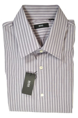 Hugo Boss Dress Shirt Gray Plum Stripes 17 - 32/33