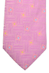 Hugo Boss Tie Pink Blue Yellow Geometric