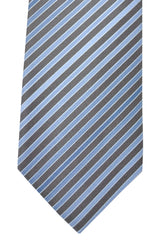 Hugo Boss Tie Taupe Sky Blue Silver Stripes - Narrow Tie