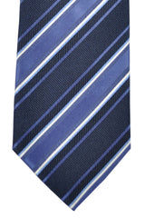 Hugo Boss Tie Purple Black Blue Silver Stripes - Narrow Tie