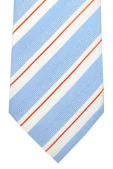 Hugo Boss Tie White Sky Blue Orange Stripes - Narrow Tie