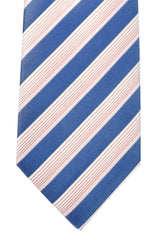 Hugo Boss Tie Midnight Blue Silver Pink Fuchsia Stripes