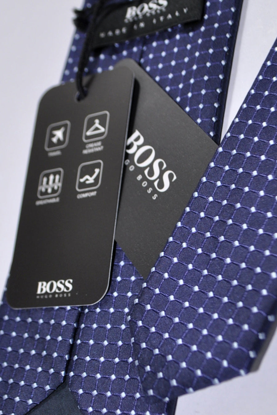 Hugo Boss Tie Dark Navy Midnight Blue Silver Geometric