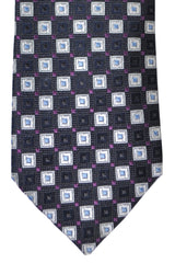 Hugo Boss Tie Black Purple Silver Geometric