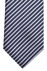 Hugo Boss Silk Tie Navy Silver Stripes