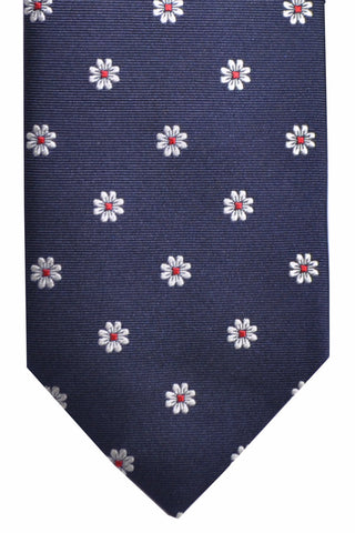 Hugo Boss Silk Tie Navy Red White Silver Flowers