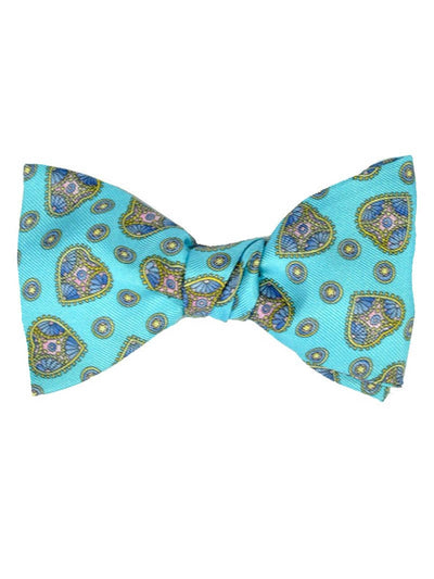 Leonard Bow Tie Self Tie Aqua Gold Hearts FINAL SALE