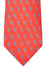 Hermes Tie Red Sky Blue Skate