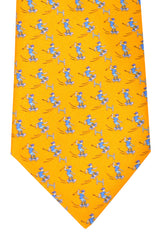 Hermes Tie Yellow Sky Blue Skate