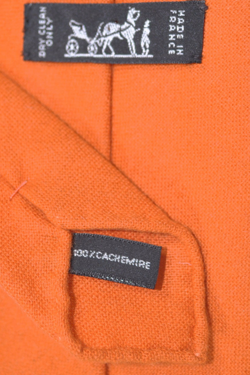 Hermes Cashmere Tie Orange Unlined
