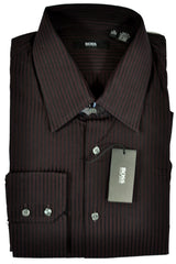 Hugo Boss Dress Shirt Black Burgundy Stripes 16 - 33