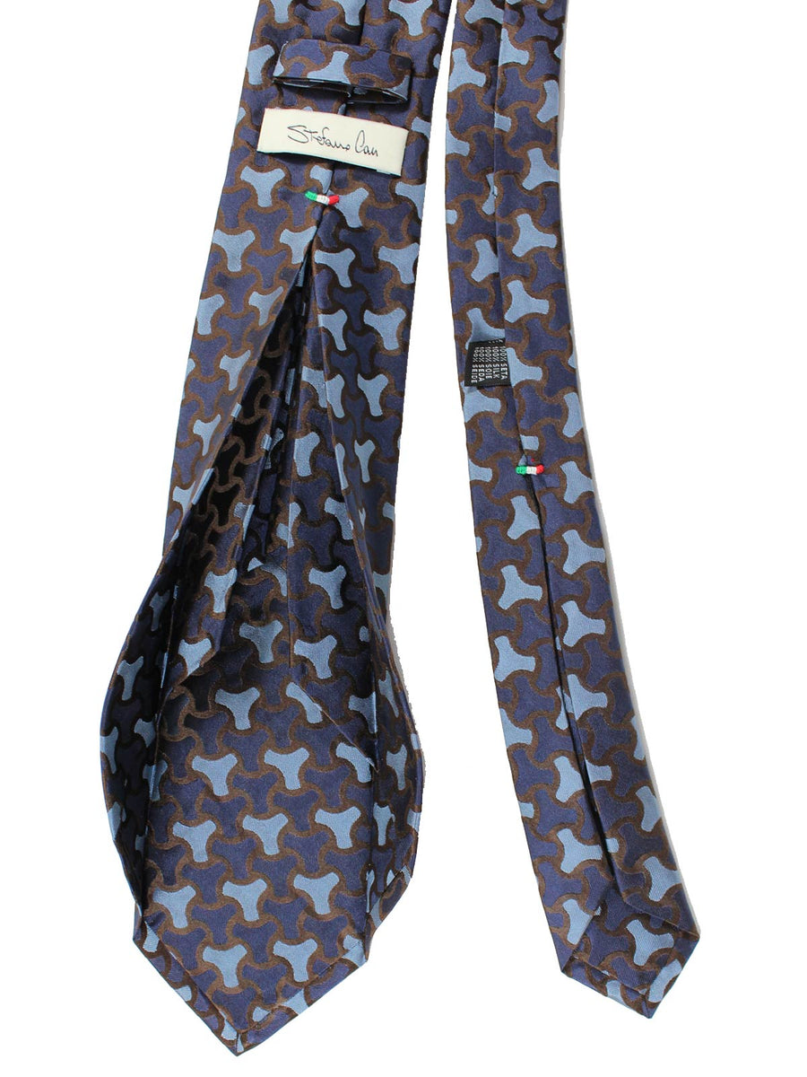 Stefano Cau 11 Fold Tie Midnight Blue Brown Geometric Elevenfold Tie SALE