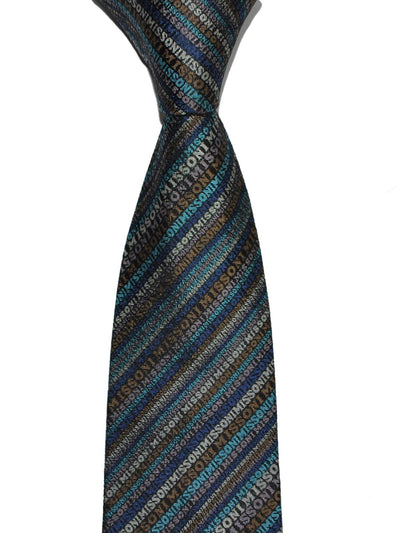 Missoni Silk Tie Olive Blue Logo Stripes Design