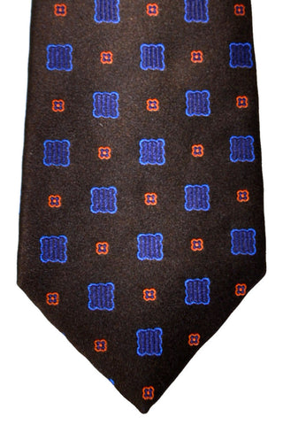 Isaia Sevenfold Tie Brown Blue Pink Geometric