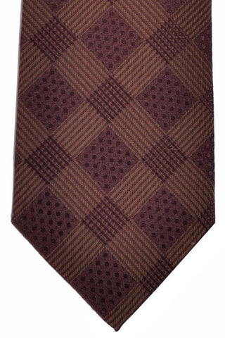 Isaia Silk Tie Chocolate Brown Geometric Stripes SALE