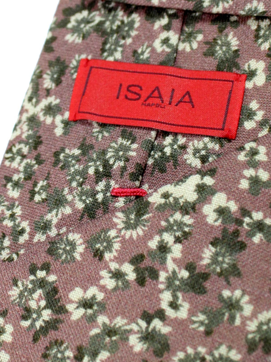Isaia Linen Tie Taupe Gray Floral SALE
