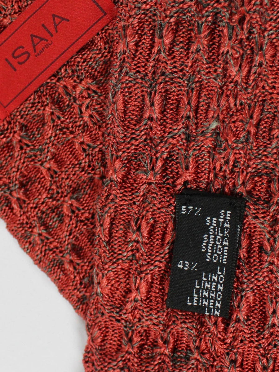 Isaia Square End Knitted Tie Silk Linen Coral Gray Knitted