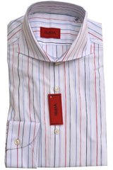 Isaia Dress Shirt White Red Blue Stripes 41 - 16