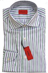 Isaia Shirt White Navy Green Stripes