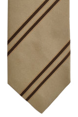Isaia Tie Taupe Brown Stripes Narrow Necktie