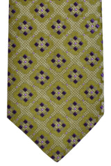 Isaia Tie Olive Green Purple Geometric Design