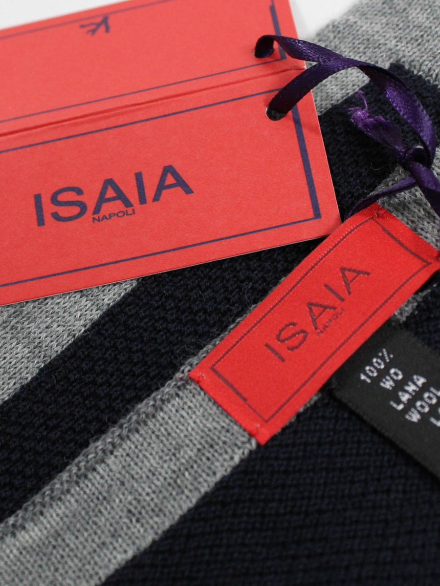 Isaia Wool Pocket Square Dark Blue Gray New