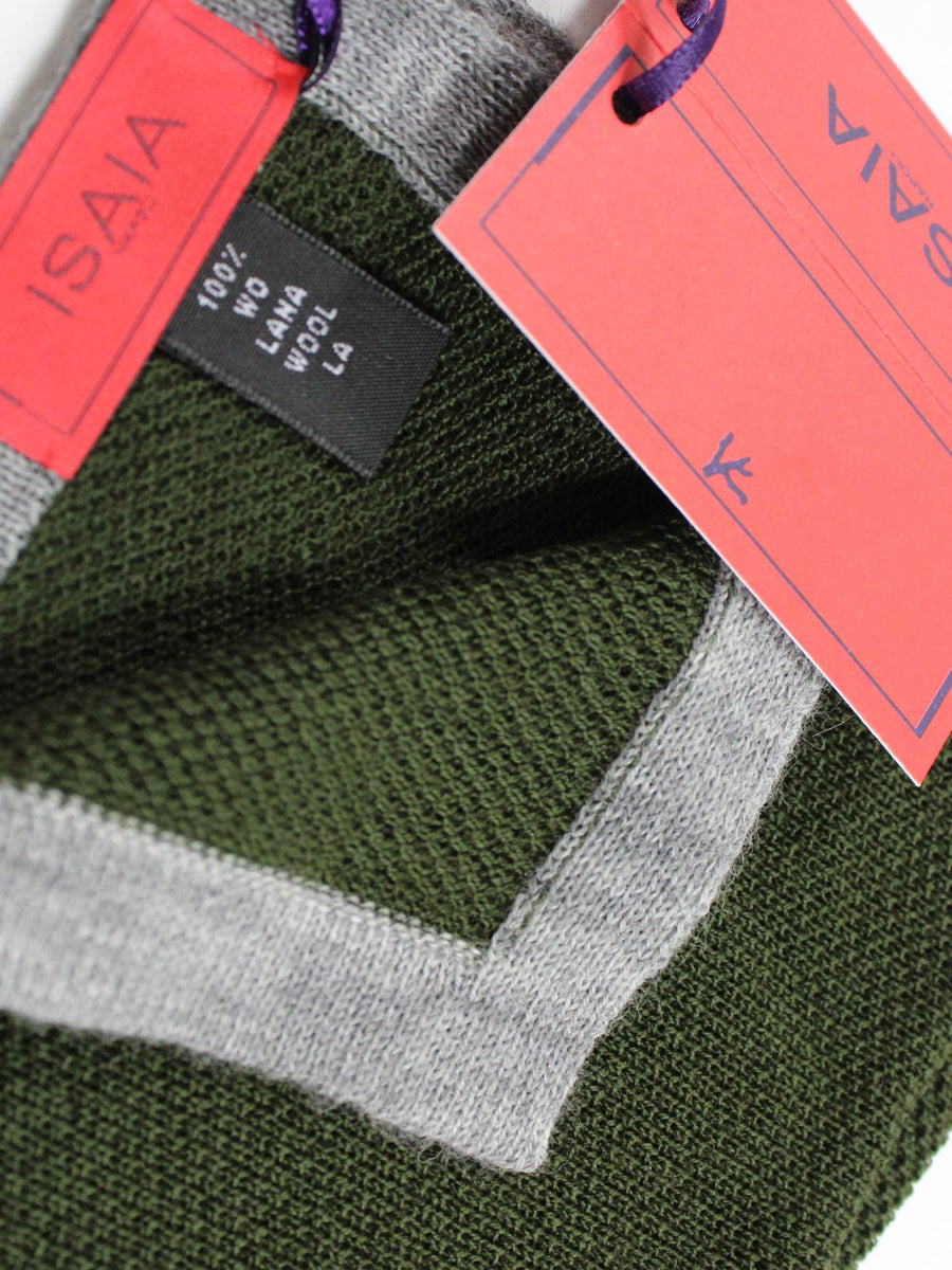 Isaia Wool Pocket Square Forest Green Gray