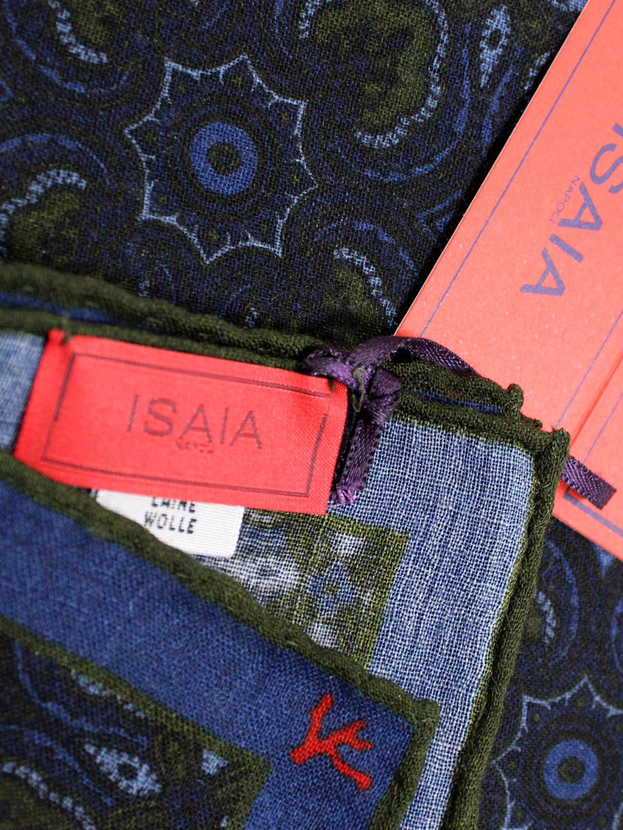 Isaia Wool Pocket Square Navy Blue Forest Green Ornamental
