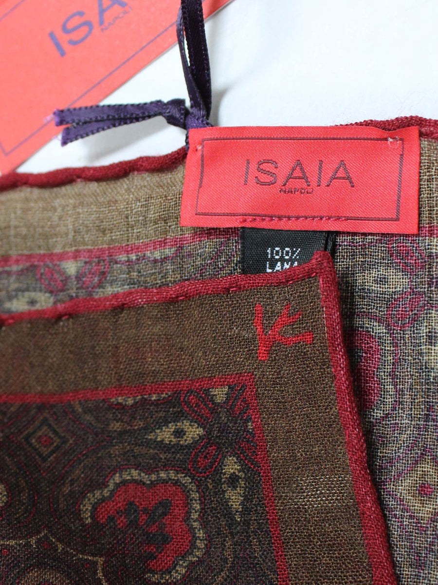 Isaia Wool Pocket Square Maroon Green Ornamental SALE