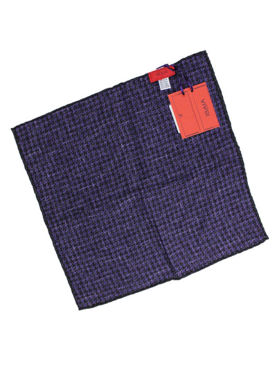 Isaia Silk Pocket Square Purple Double Sided Purple Design