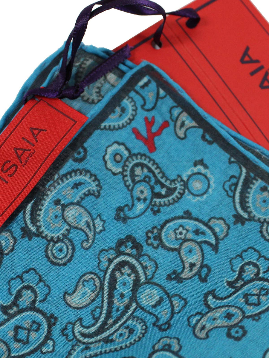 Isaia Pocket Square Slate Blue Gray Paisley Design Cotton Silk