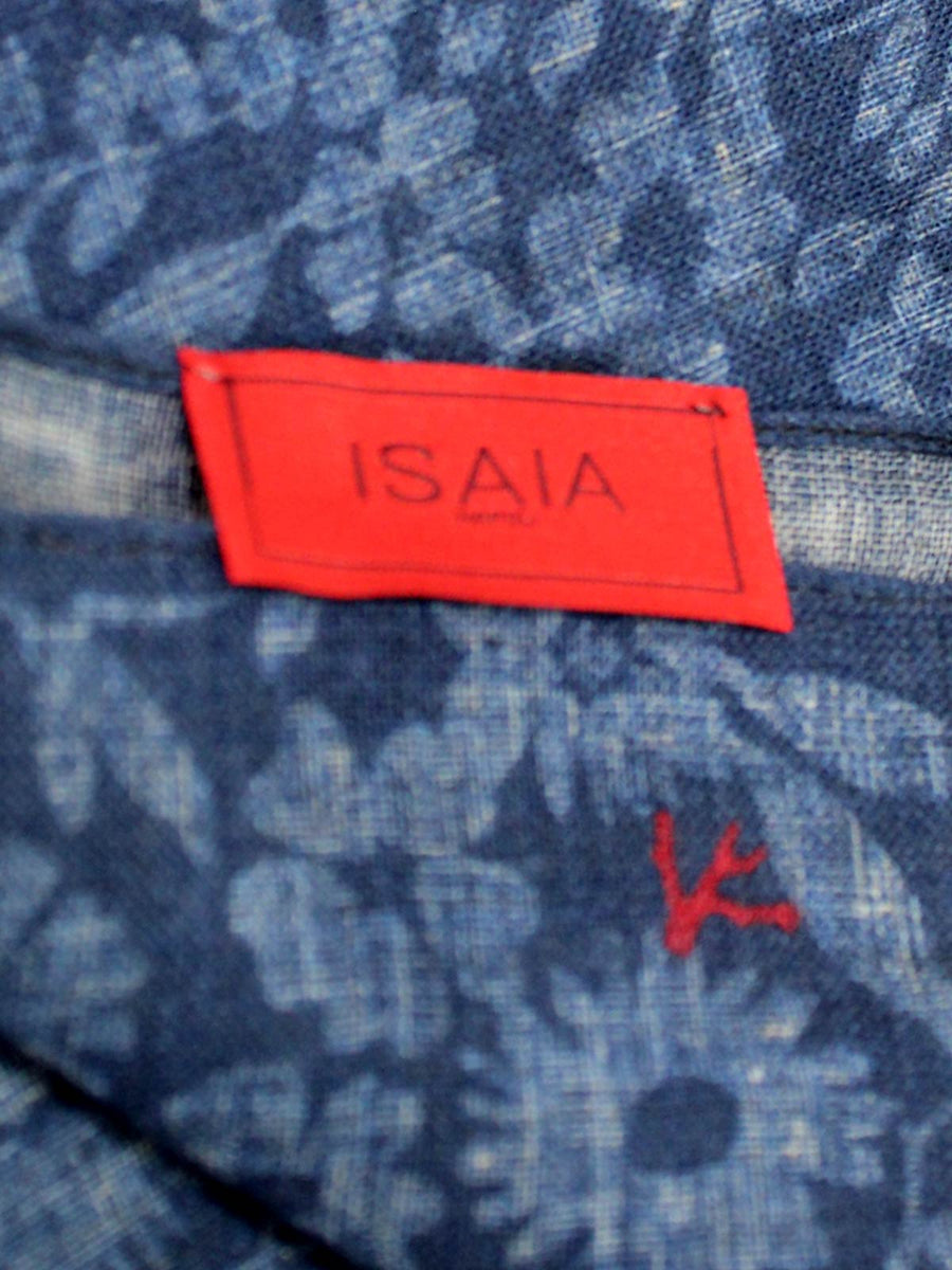 Isaia Wool Pocket Square Dark Blue Floral