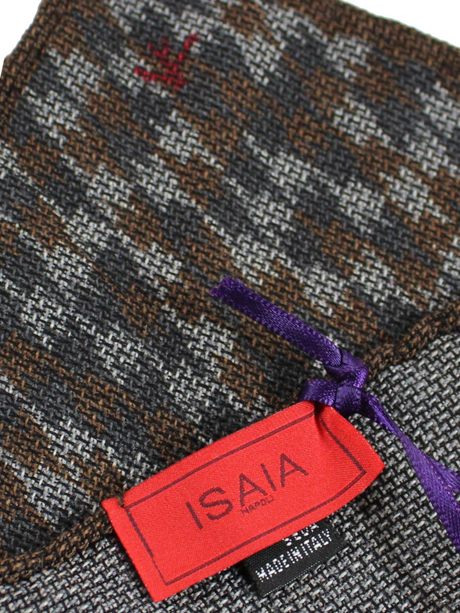 Isaia Pocket Square Gray Brown Houndstooth Wool Silk SALE