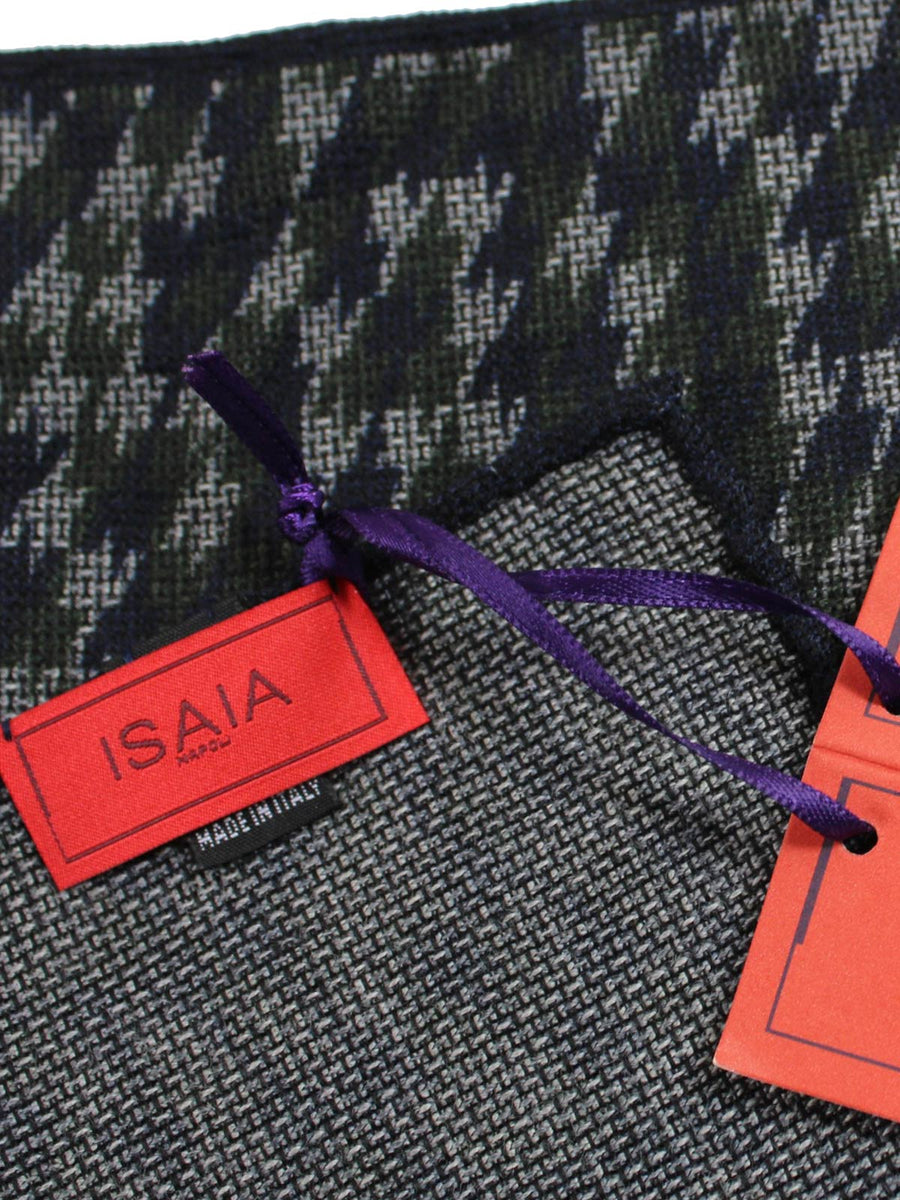 Isaia Pocket Square Gray Navy Green Houndstooth Wool Silk