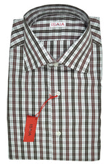 Isaia Shirt White Maroon Brown Plaid