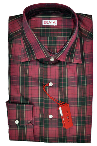 Isaia Shirt Black Fuchsia Plaid 40 - 15 3/4 SALE