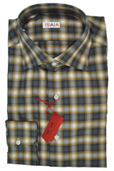 Isaia Shirt Rust Orange Gray Black Plaid