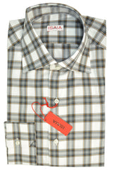 Isaia Dress Shirt Cotton White Gray Peach Plaid