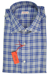 Isaia Dress Shirt Cotton Royal Blue White Plaid