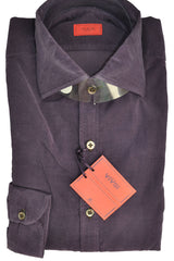 Isaia Dress Shirt Cotton Purple Sport Shirt