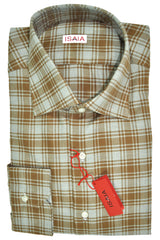 Isaia Dress Shirt Brown Gray Plaid