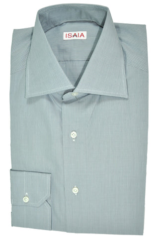 Isaia Dress Shirt Gray Stripes 38 - 15 FINAL SALE