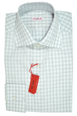 Isaia Dress Shirt White Gray Check Plaid