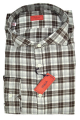 Isaia Dress Shirt Brown White Check Plaid Flannel