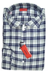 Isaia Dress Shirt Navy Gray Check Plaid Flannel